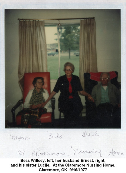 Bess Willsey, left, her husband Ernest, right,<br /> and his sister Lucile.  At the Claremore Nursing Home.<br /> Claremore, OK  9/16/1977