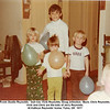 Front, Dustin Reynolds.  2nd row, Vicki Reynolds, Doug Johnston.  Back, Chris Reynolds.<br /> Vicki and Chris are the kids of Jerry Reynolds.<br /> At Kathryn Reynolds' home, Tulsa, OK  1977
