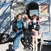 Kathy Howard and her daughter Anita.  With<br /> Kathy's great-uncle Bill Willsey.<br /> At Bill's trailer home, Bowie, AZ  March, 1991