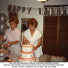 From left, Sue (Reynolds) Johnston and Kathy (Reynolds) Howard.<br /> Surprise 25th wedding anniversary party for Gene and Paula (Patton) Reynolds.<br /> At Sue and Tony Johnston's house, Tulsa, OK  June 1989