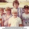 Kathryn L. Reynolds and four of her grandsons, from left<br /> Doug Johnston (1971-2014), Dustin Reynolds (1974-2000),<br /> Kristopher Reynolds (b.1975), and Travis Howard (b.1974).  Tulsa, OK  1983