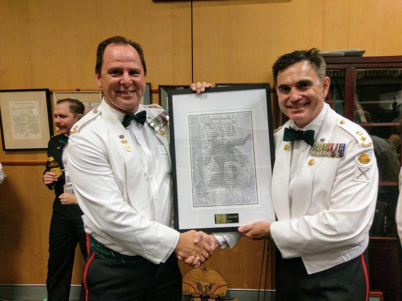 November, 2017: The Battalion 2/ic presenting a framed copy of my poem to the CO for hanging on the wall of the Officers' mess.