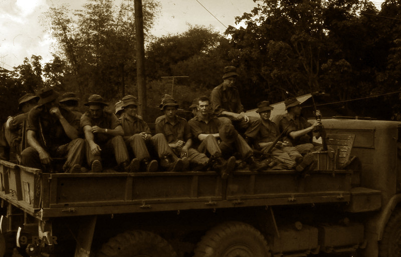 7 Platoon leaving Nui Dat for Vung Tau and some R&C (rest in country). Beginning from the front: <br /> corporal Mick Shave, 3 Section<br /> private Max Knight, 3 Section<br /> lance corporal Frank Chambers, 3 Section<br /> private Chris Kyval, 3 Section<br /> ?,<br /> corporal Craig Price, 2 section<br />  ?,<br />  ?.<br /> taken by Private, Jim Kelly, 3 Section