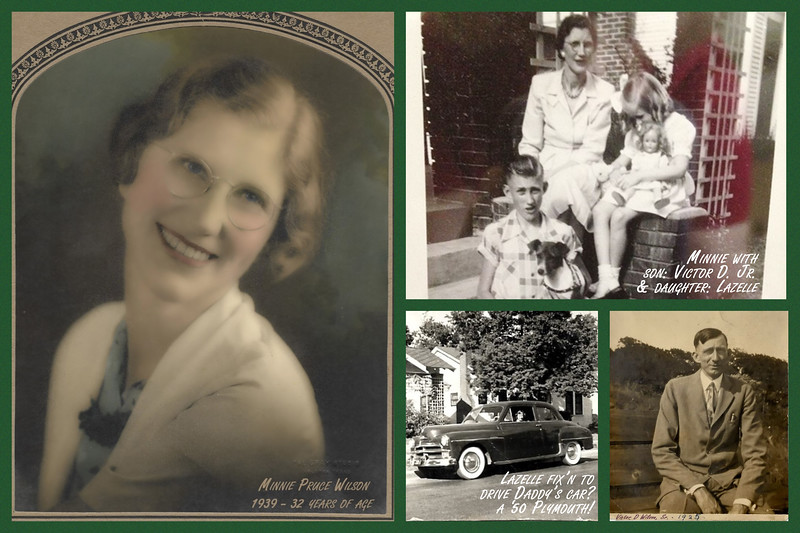 A collage of Minnie Wilson with family