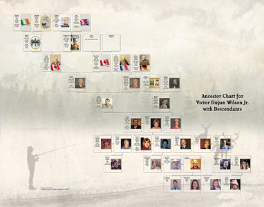 Ancestor Chart w Descendants for Victor Dugan Wilson Jr