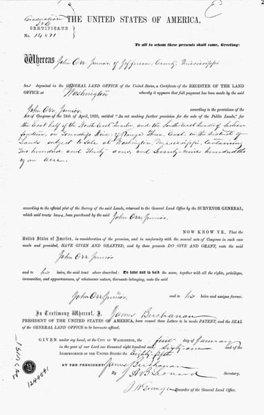 John Orr's Land Purchase signed by US President James Buchanan!