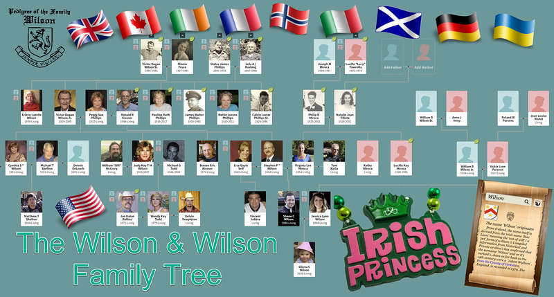 Wilson Family Tree Chart with Peggy's Great Miss Cliona