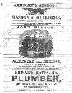 Business Flyer of John Wilson in Cambridge, Mass in 1869 at the start of his career.
