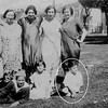 (1924) Precita_Park; Antoinette La Barbera, Josephine Formosa, Rose Cirincione(?), Josephine (Josie) La Barbera, Lena (Moreci) Gallucci, George, Marie, and Anthony Formosa. The gathering may have something to do with the marriage of Josie La Barbera to Nin Gallucci