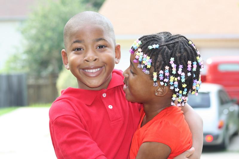 Jaden and his baby sister Tina.