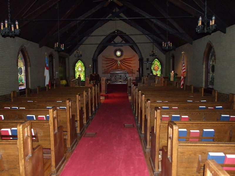The Episcopal church sanctuary before services.
