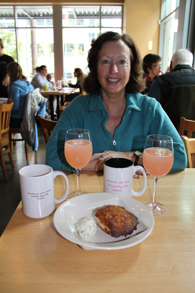 Portage Bay Cafe has yummy food, like rhubarb champagne mimosas.