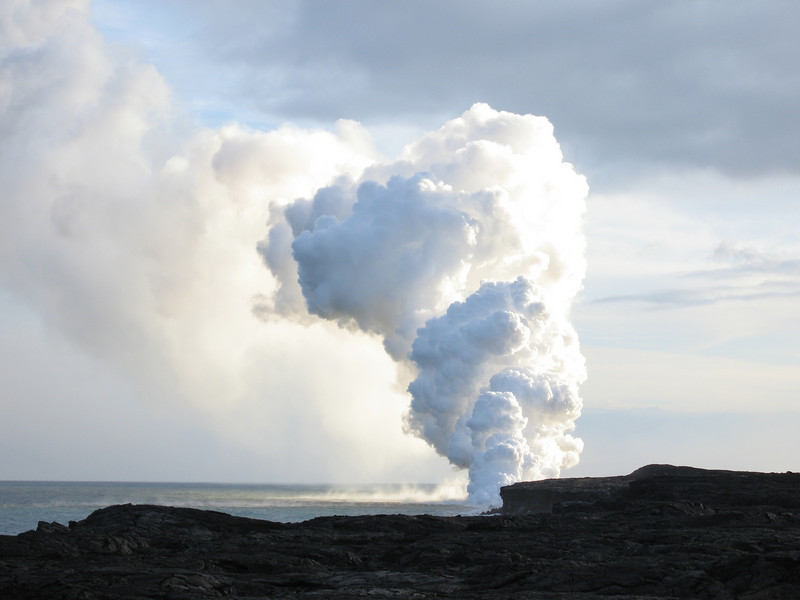 Steam and lava.