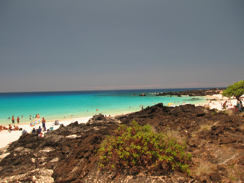 Kua Bay, between mile marker 88 and 89. It is hard to miss, right next to the Pu'u Kuili cinder cone!