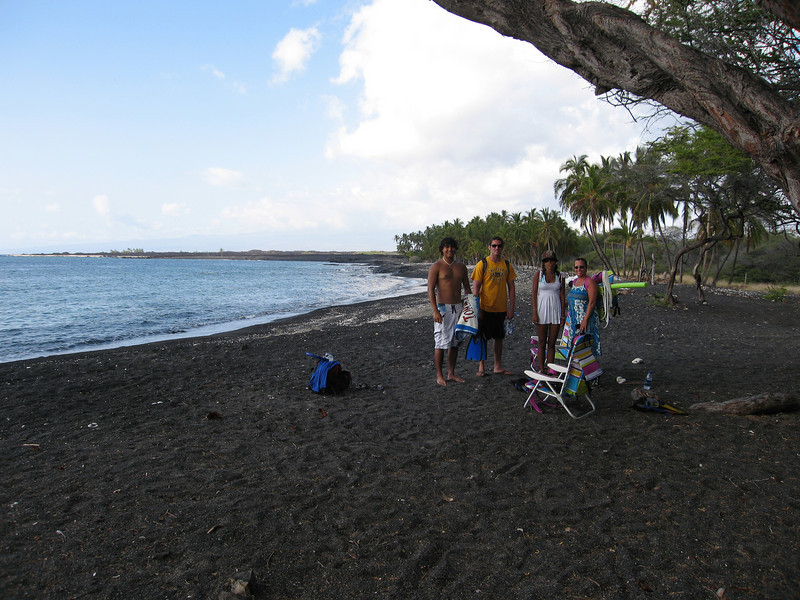 Our secluded black sand beach, no one else around, literally!