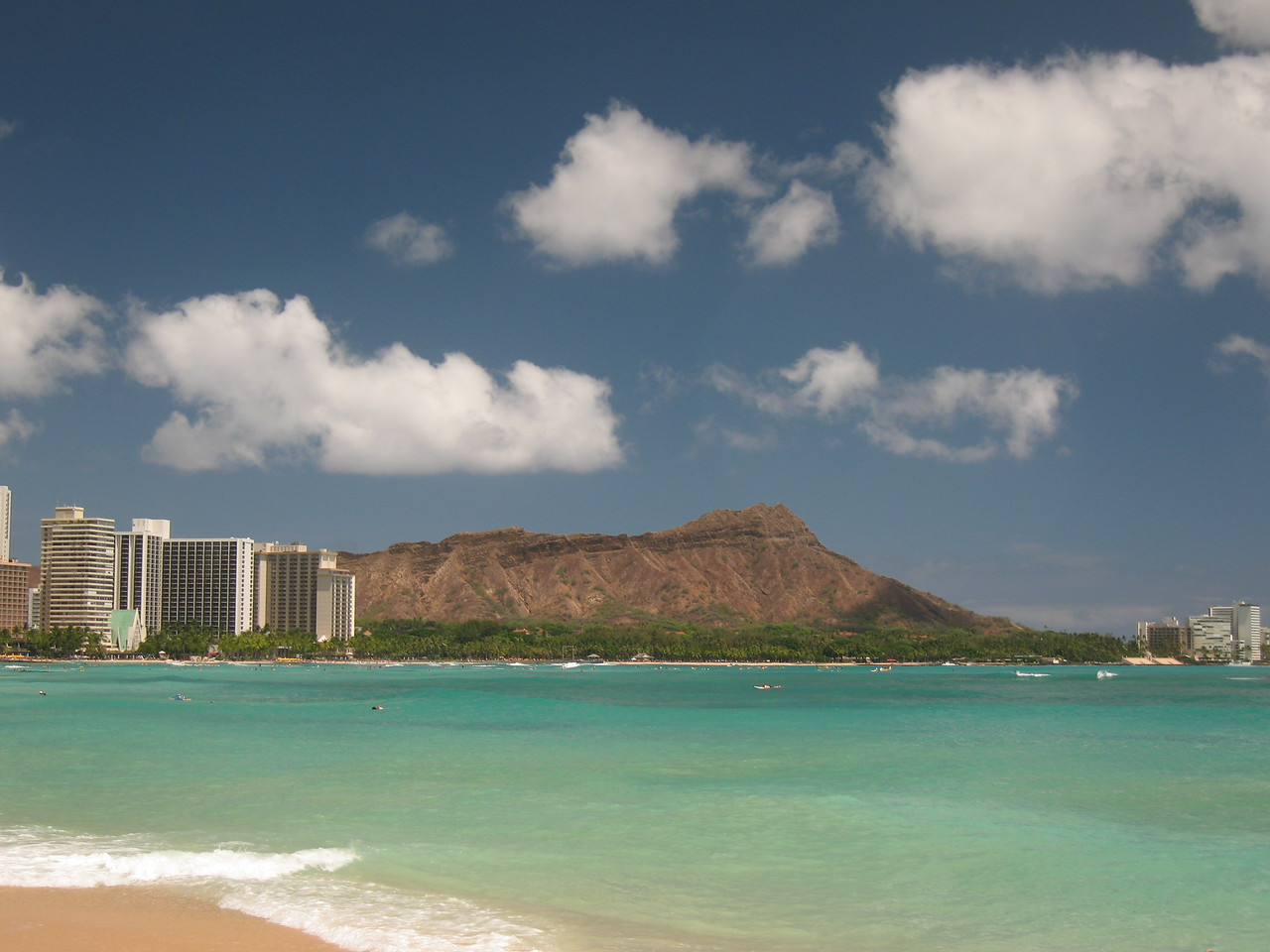 Diamondhead from Waikiki Beach in the afternoon on August 3rd.