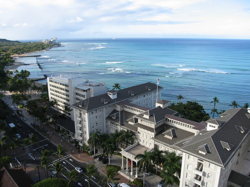 The Surfrider and Waikiki in the morning.
