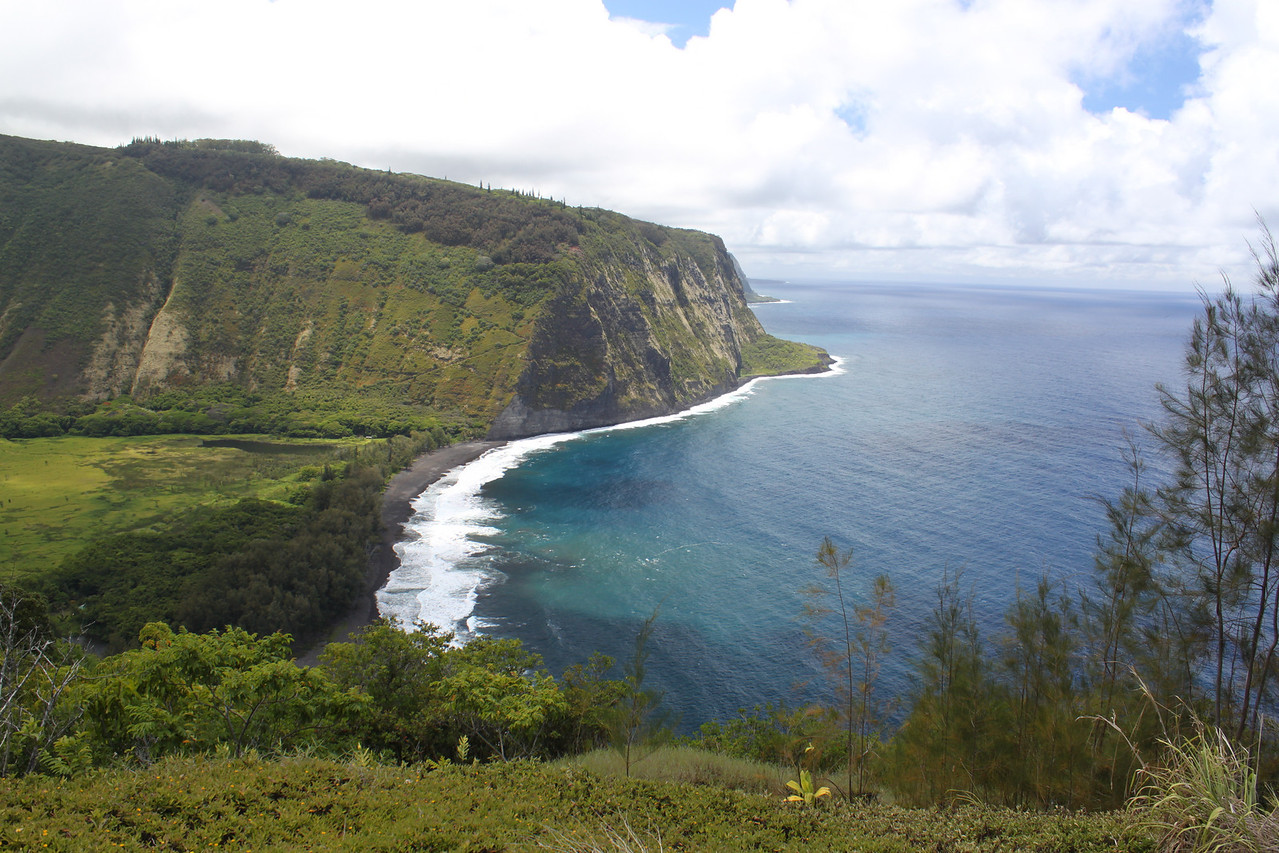 Waipi'o Bay overlook. 1000 feet down in 1 mile, about a 25% grade down (and up). Four wheel drive vehicles ONLY!