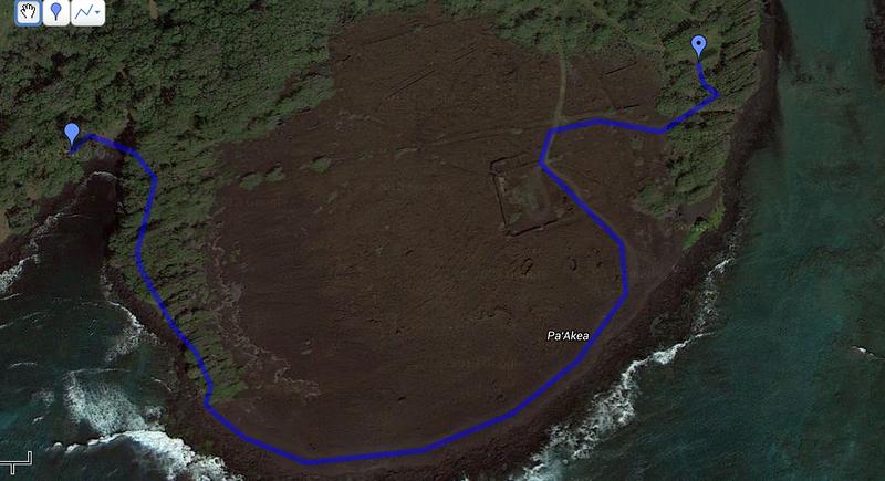 A short hike to Ka'alu'alu from the parking area.