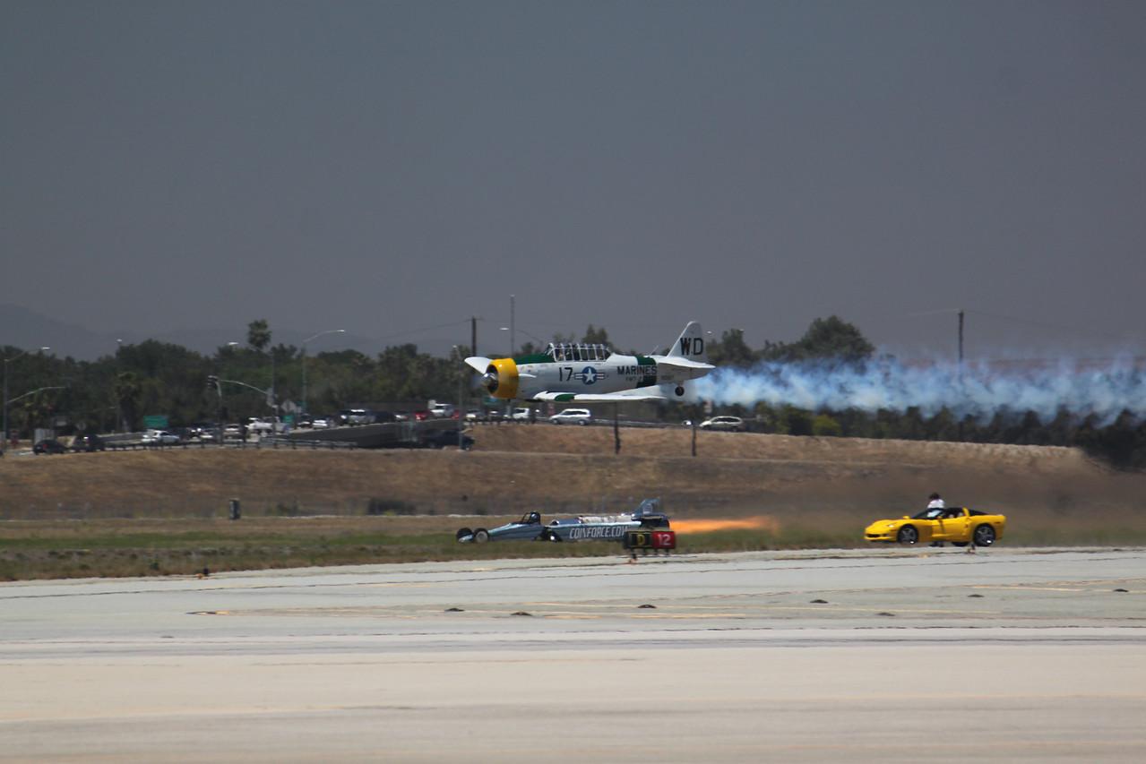T-6 Texan vs. the Rocket Car!