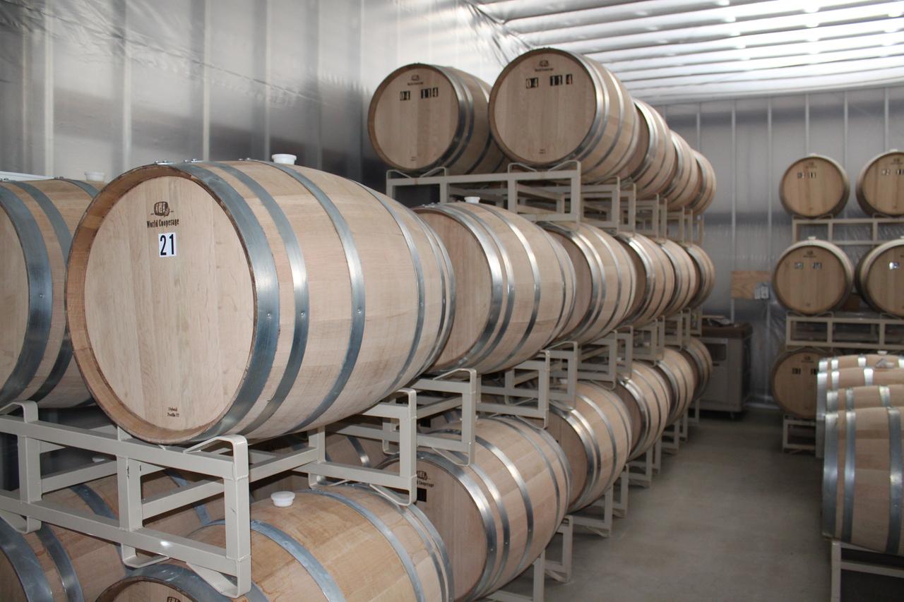 Rum aging in the casks.