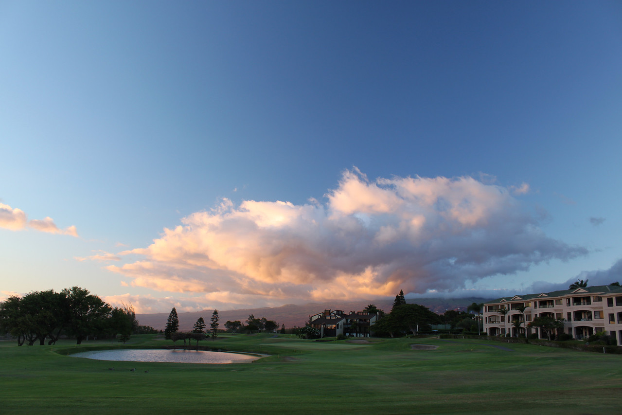 Sunset reflected on the clouds from the 3rd tee at Waikoloa Village.