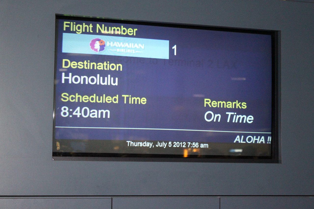 HA 001, LAX - HON, July 5, on TIME!