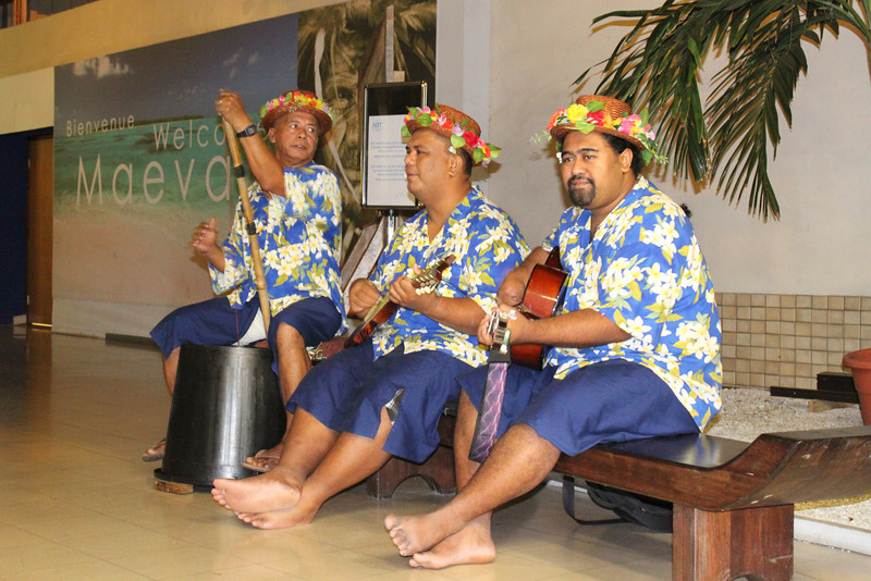 We were serenaded while in customs.