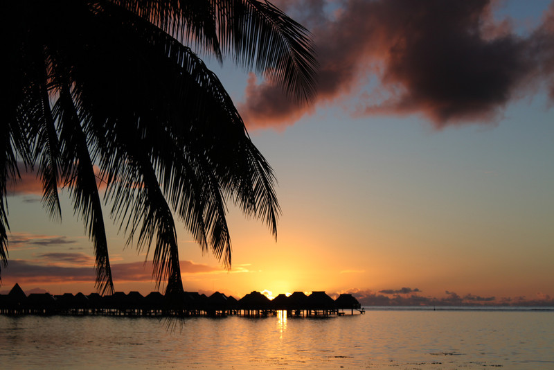 Sunset at the Hilton Moorea Lagoon and Spa.