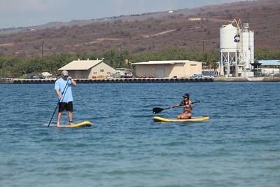 Paddleboarding in the harbor.