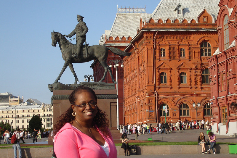 First stop - where else - Red Square. This was taken at the entrance to the Square with the monoument to General Zhukov in the background.