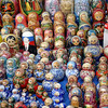 Matrioshkas for sale at the Izmailovo flea market.