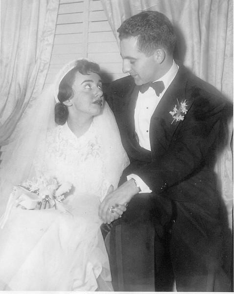 Len Gilman & Debbie Gilman, Mom & Dad, Wedding portrait. (1952)
