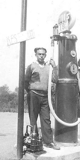 Grandpa Blassberg at his gas station in Greenfield, Mass. (1928)