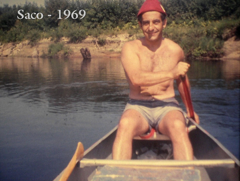 Dad in his element. Canoeing on the Saco River in Maine. (1969)