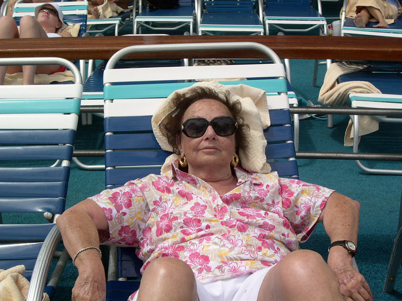 Mom sunbathing on a cruise a few months before she died.