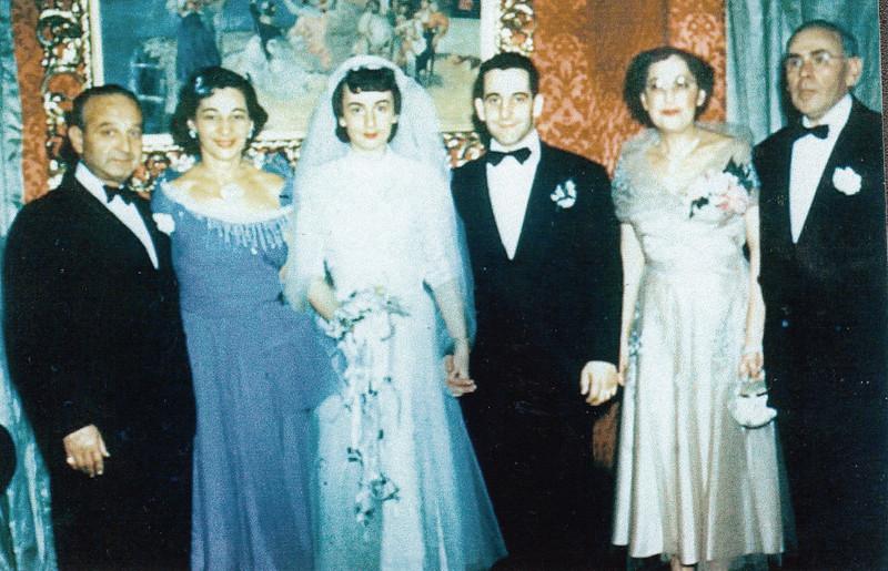 Mom & Dad's wedding day. Herman & Anne Gilman, Dolores Blassberg Gilman, Leonard Gilman, Gertrude & Seigmund Blassberg. (January 17, 1952)