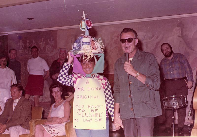 """A """"Mr. John"""" original. Mom in costume on a cruise."""