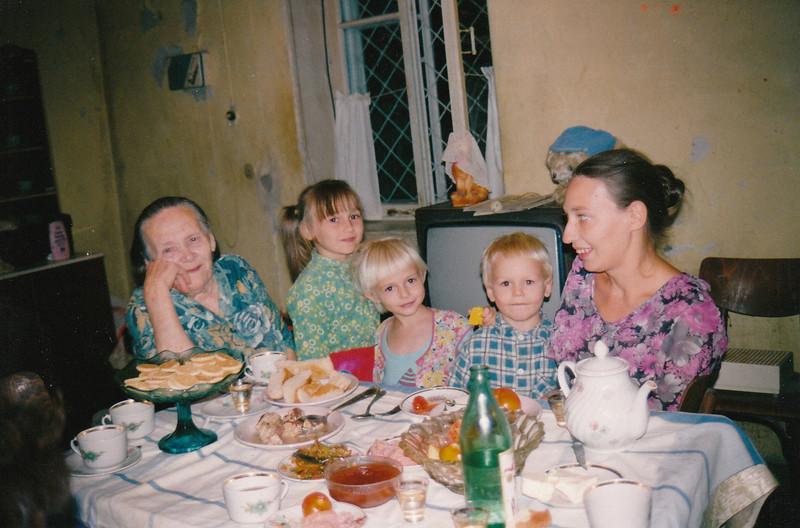 Nieces Nastiya and Anya, nephew Ivan, cousin Galya & great Aunt, Galina Petrovna. Ashgabat (09.1993)