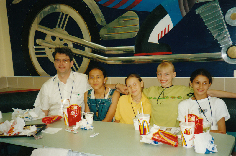 The best treat ever - We took Anya & her team mates from the Turkmenistan youth gymnastics team to McDonalds. It was the highlight of their Moscow visit. (2002)