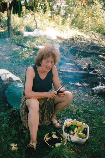 Sister Galina, preparing vegetables at the dacha. (2005)