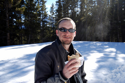 Curt works for Challenge Aspen - teaching disabled people to ski.  His tele boots were bothering him so he headed back to te truck to get his snowshoes - I cannot tell you how fast he was - it was amazining