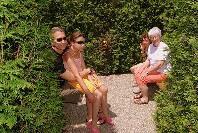 Adam, Leah, Zoe and Mom at the center of the maze