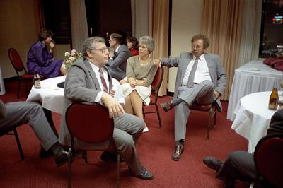 Matt Streicher, foreground.  Mr. & Mrs. Dexel Spencer.  Background: Sharon McMahon, Blake Netherwood, Kathleen Feeney.  Ca. May, 1986.