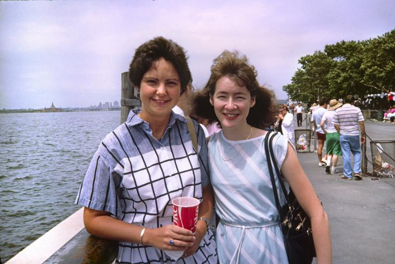 Sharon McMahon and Kathleen Feeney of BDM, summer 1985, Battery Park by the harbor of New York.