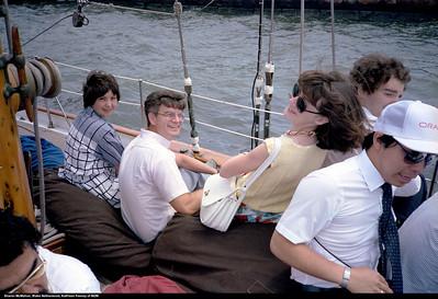 One of the Ambac yacht rides in the harbor.  June 1986.  Sharon McMahon, Blake Netherwood, Kathleen Feeney, Einar LeBlanc.