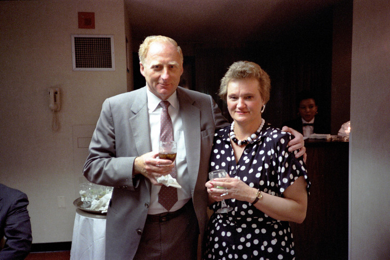 Bill and Astrida.  Celebration of the successful completion of the CORE project.  Ca. May, 1986.