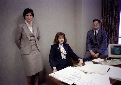 Sharon McMahon, Kathleen Feeney, Blake Netherwood in the Ambac offices.  Early 1986.