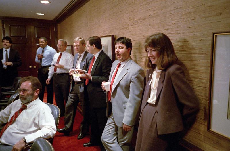 Left front: Dexel Spencer.  Right to left: Kathleen Feeney, Frank Sestito, Mario, Shawn Swarner.  February, 1988.