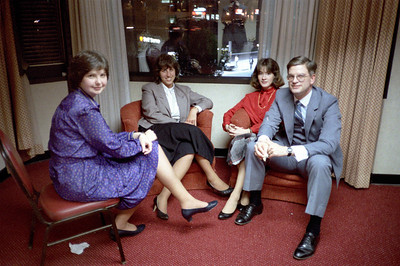 Sharon McMahon (blue), Kathleen Feeney (red), Blake Netherwood.  Ca. May, 1986.